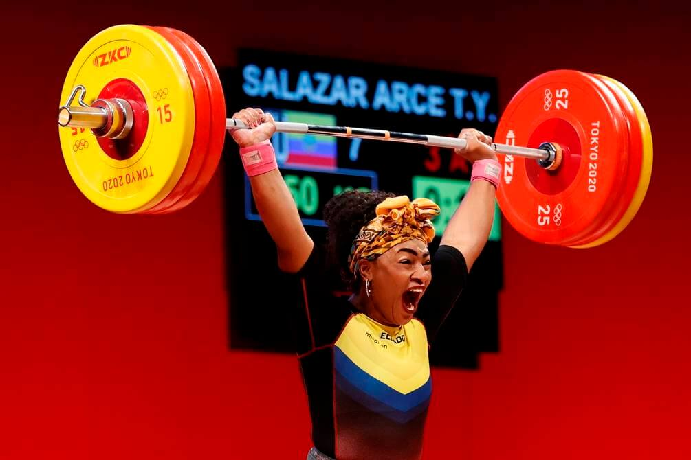 EVE5645. TOKYO (JAPAN), 08/02/2021.- Tamara Salazar from Ecuador competes in Group A of women's + 87kg weightlifting for the 2020 Olympic Games, this Monday at the Tokyo International Forum (Japan).